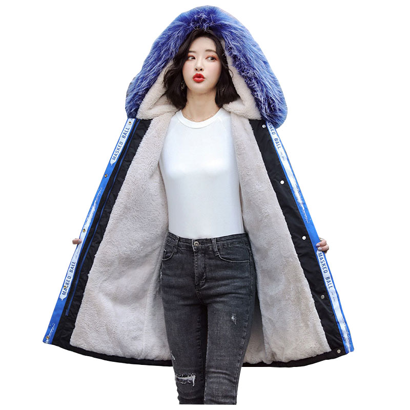 Long Fur   Coat   Hooded Winter   Down     Coat   Jacket Thick Warm Oversize Cotton Padded Wadded Parkas Lamb Wool Lining
