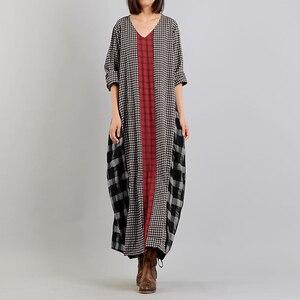 Винтажный весенний сарафан ZANZEA M 5XL, женское длинное платье в клетку из хлопка, Женский кафтан с длинным рукавом