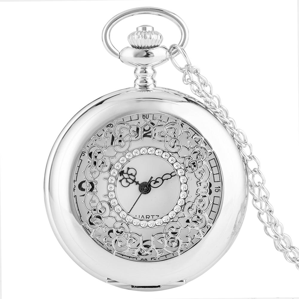 Unisex Elegant Silver Hollow Steampunk Men Quartz Pocket Watch With Vintage Necklace Clock For Women Girls Best Gifts