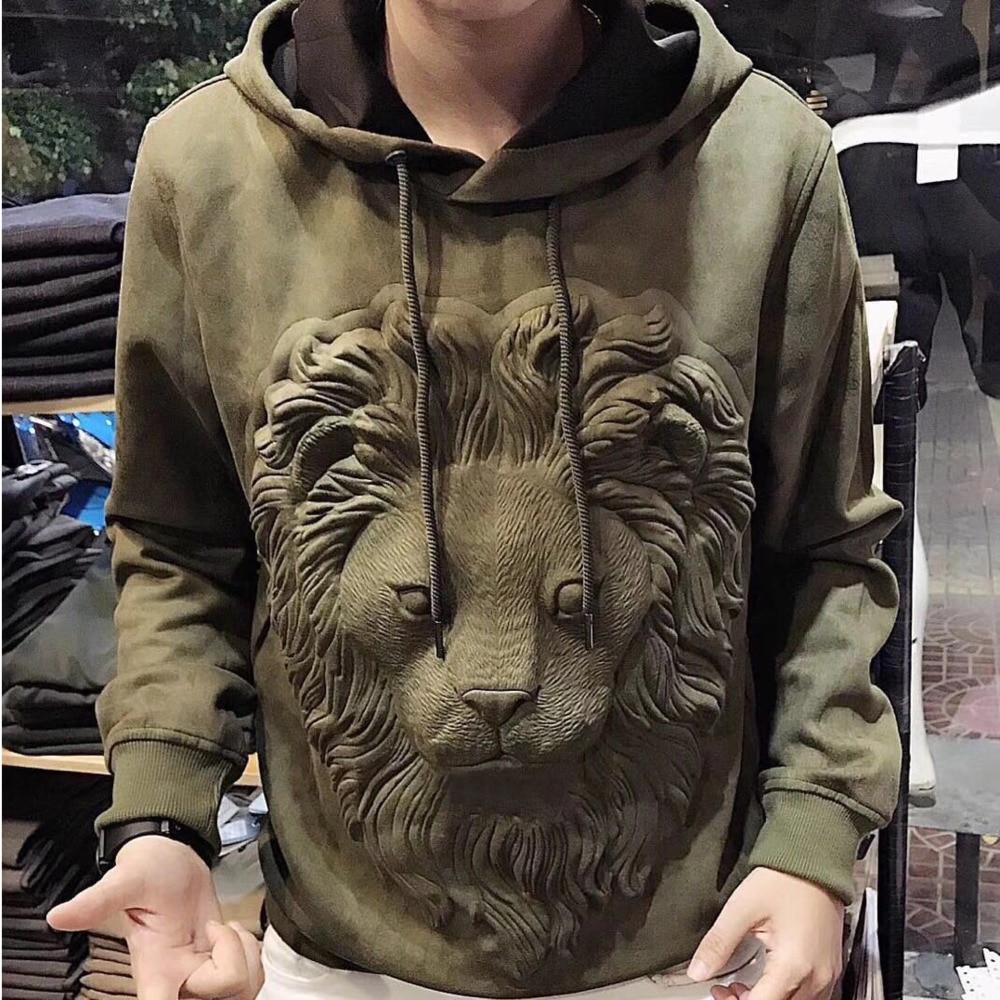Tiger Lion-sudaderas con capucha de manga larga para Hombre, ropa de calle completa, sudadera de Hip Hop, otoño 2021