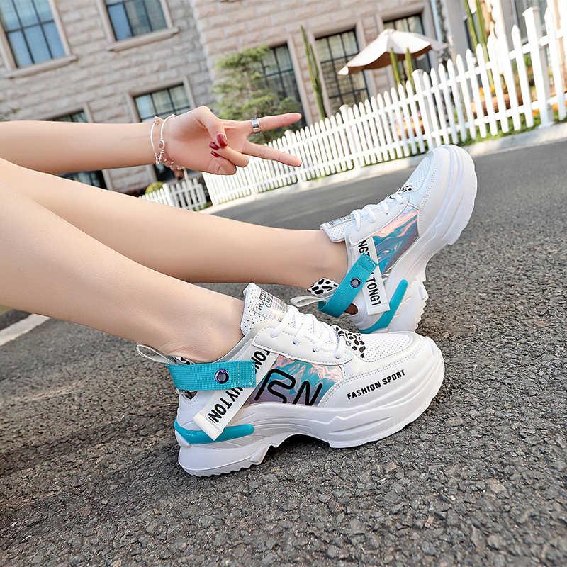 Новые весенние осенние кроссовки Женская Удобная спортивная обувь на платформе для любителей ходьбы женские кроссовки chaussure femme
