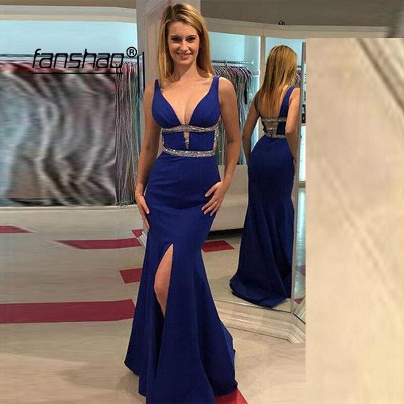 Royal Blue Deep-V Slit Evening Dress Mermaid Belt Tank Prom Dress Special Occasion Islamic Dubai Saudi Arabic Evening Gown
