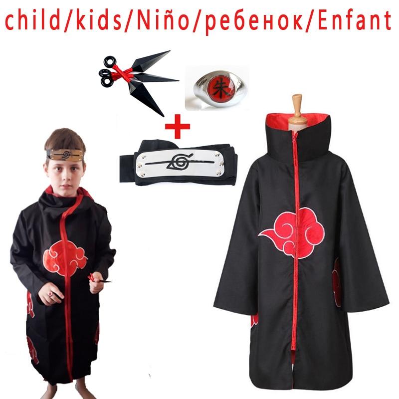 Children/kids Anime Naruto Akatsuki /Uchiha Itachi Costume Cosplay Halloween Christmas Pain Cloak Cape