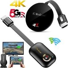 2.4g/5g 4k sem fio wifi espelhamento cabo hdtv áudio vídeo adaptador 1080p tela dongle para iphone ios android telefone para tv
