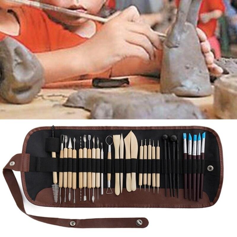 30pcs DIY Clay Pottery Tool Set Drill Pen Ceramics Sculpting Carving Sculpture Craft Wooden Handle Modeling Kit