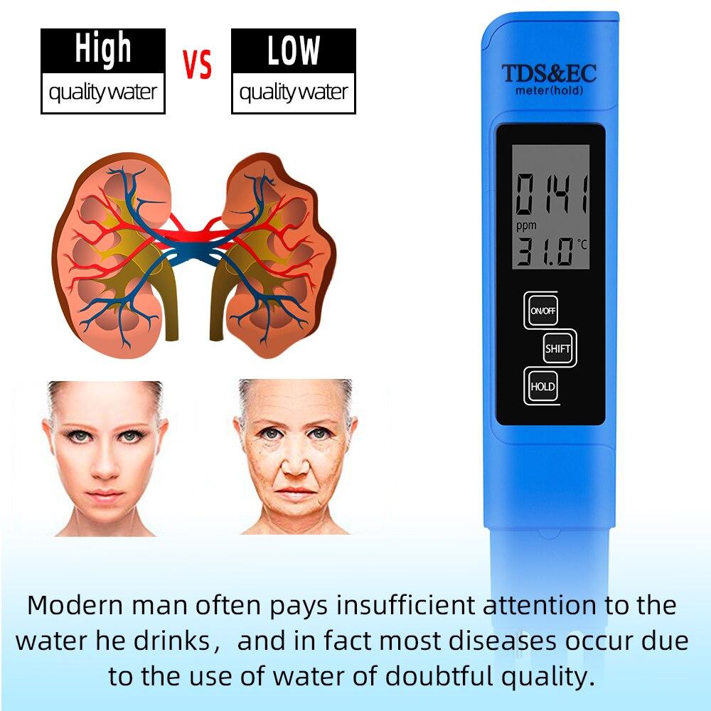 Nový TDS EC Měřič teploty Tester pero 3 In1 Funkce Vodivost - Měřicí přístroje - Fotografie 5