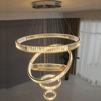 Modern chandelier lighting large hotel hall staircase LED crystal chandeliers round rings light fixtures home decoration lamp