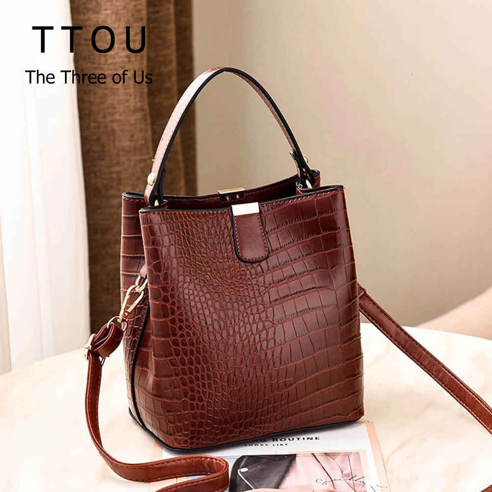 Retro Crocodile Bucket Bags Women Alligator Pattern Handbag Capacity Casual Crocodile Shoulder Messenger Crossbody Bags Ladies
