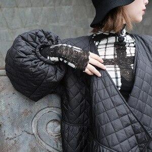 Image 5 - Новинка 2020, Женское зимнее пальто большого размера, винтажный буф с рукавом, клетчатая парка, Корейская черная хлопковая куртка, осеннее пальто, уличная одежда
