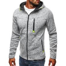 Yiwa Men coat Hooded Tops Zipper Closure Fitness Hoodies Solid Color Sweatshirts Coat  Lapel Mens Clothing