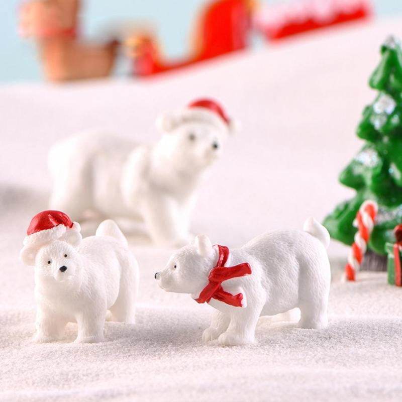 3pcs Simulation Animal Model Mini White Polar Bear Resin Figurine Toy Cake Mould Creating Cheerful Beautiful Atmosphere