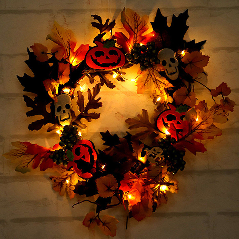 LED Berry Wreath Halloween Colorful Door Best Gift Home Decor Party Lamp Pumpkin Wreath Pumpkin Berry Wreath Maple Leaf Autumn