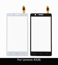"""5.0 """"para lenovo a536 painel de toque original digitador da tela toque sensor vidro frontal para lenovo a 536 touchscreen + 3m adesivo"""