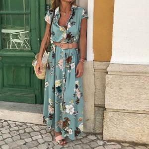 Summer Dress Vestido Long-Print Vintage Short-Sleeve Wind-Women Sashes LDM01927 Turn-Down-Collar