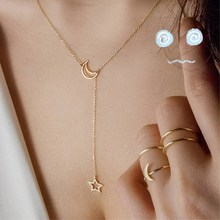 NK319 Fashion Moon Star Pendant Choker Necklace Simple Gold Color Alloy Charm Chain Collares Necklace For Women Party Jewelry