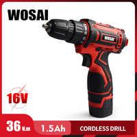 WOSAI 16V perceuse sans fil tournevis électrique Mini pilote d'alimentation sans fil batterie Lithium-Ion cc 3/8 pouces
