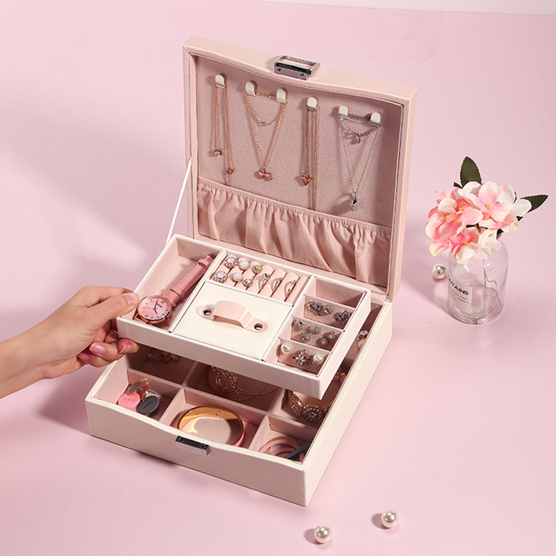 Casegrace Makeup Storage Box PU Leather Fashion Jewelry Box Holder Large Capacity Square Ring Earring Necklace Case Organizer