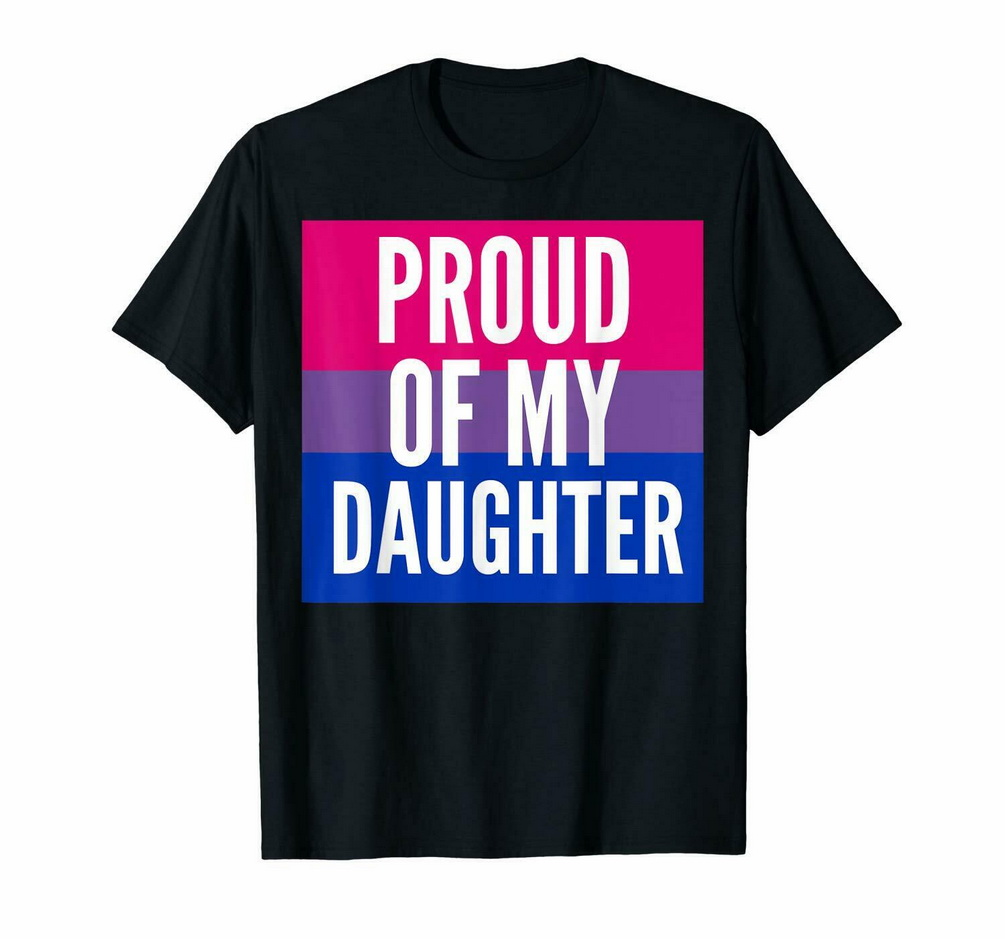 Black Proud Of My Bi Daughter - Proud Mom Or Dad <font><b>Bisexual</b></font> <font><b>T</b></font> <font><b>Shirt</b></font> 100% Cotton Retro O Neck Tee <font><b>Shirt</b></font> image