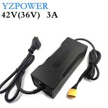 YZPOWER ładowarka akumulatorów litowych 42V 3A do 36V 3A litowo jonowy poly elektryczny skuter E akumulator do roweru z diodami LED i wentylator