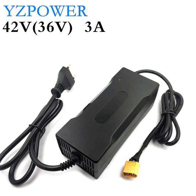 YZPOWER cargador de batería de litio de 42V 3A para patinete eléctrico li poly de 36V 3A, paquete de batería de bicicleta eléctrica con LED y ventilador