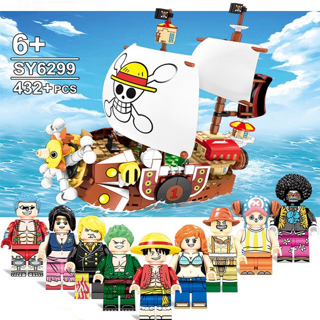 432pcs Caribbean Pirate Ship Building Blocks One Pieces Thousand Sunny Pirate Ship Luffy Blocks Techinc Model Toy for Children