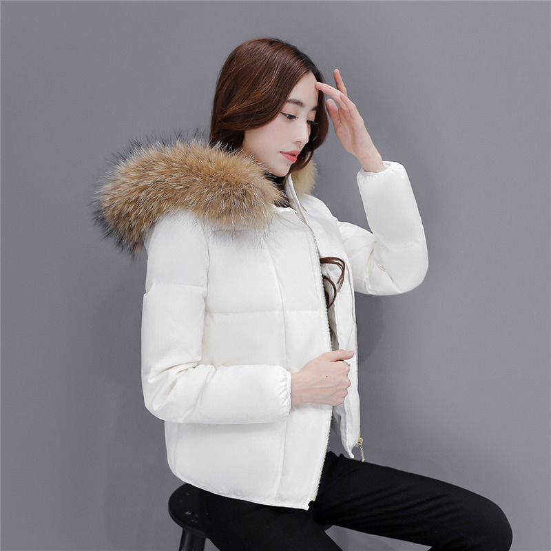 Winter Duck Down Jacket Women Short Down Coat Female Thick Jackets Clothes Ladies Large Fur Hooded Warm Coat Hiver LW1697