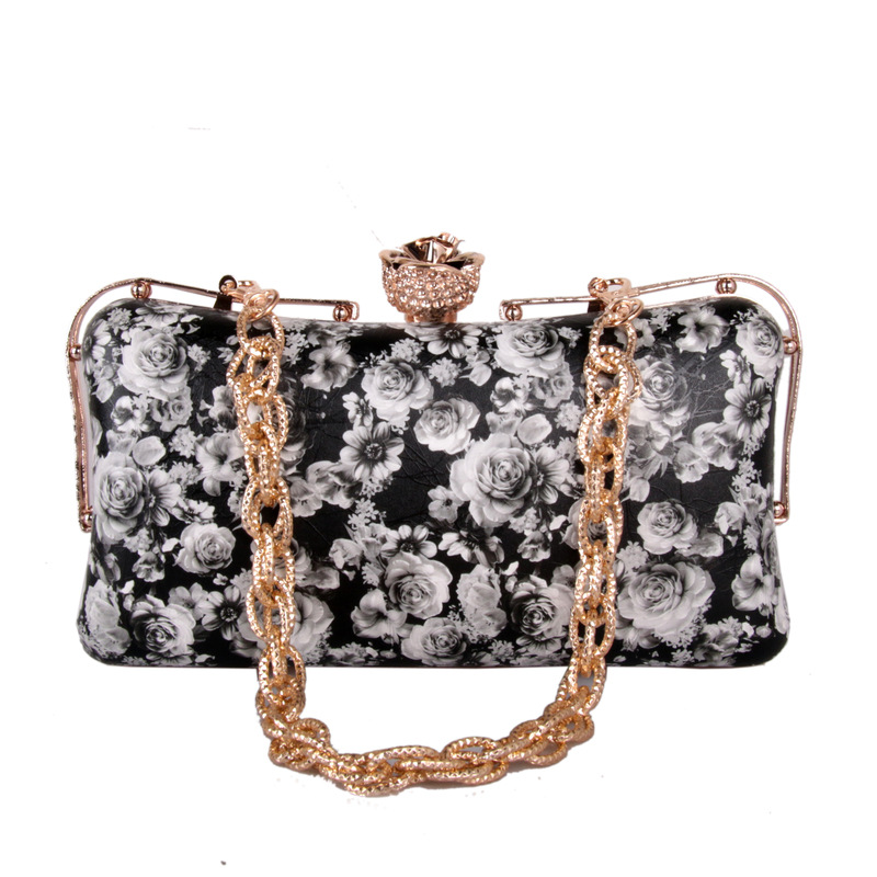 Stereoscopic White Rose Flower Black Evening Clutch Party Purse Luxury PU  Shoulder Handbags Fashion Women's Prom Party Tote