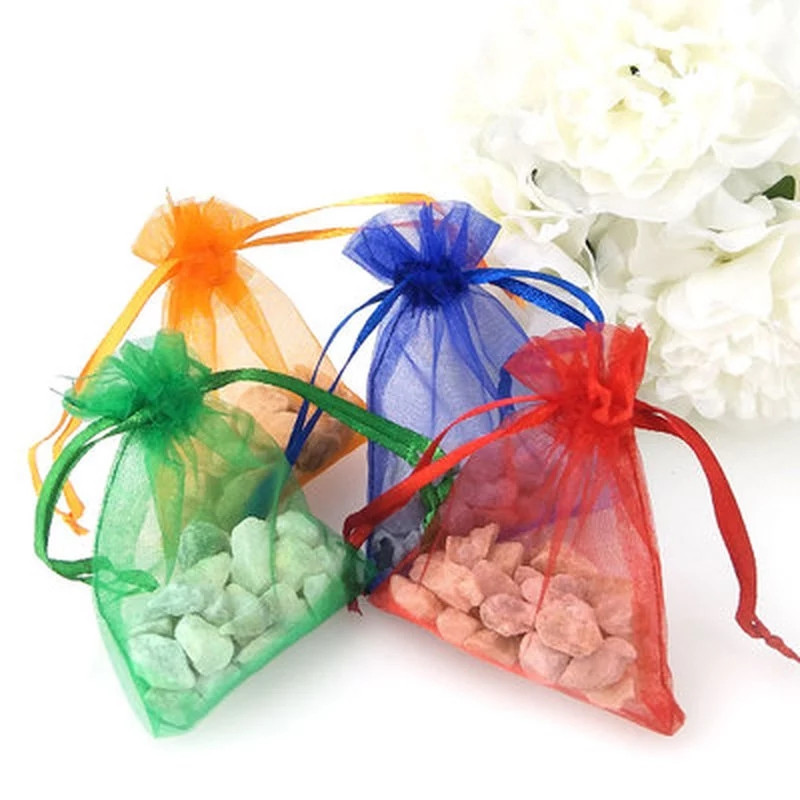 100 pcs/lot Organza bijoux sacs pochette Organza cordon mariage banquet sac bijoux emballage pour bijoux pochettes bijoux 50%