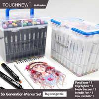 Маркеры TouchNEW 60 80 цветов, маркеры для рисования манги, ручка на спиртовой основе, масляные наконечники из фетра, ручка с двойной кистью, товар...