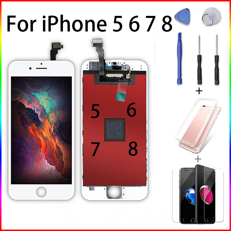 Grade AAAAA Ecran LCD for iPhone 5 6 7 8 Plus Display Replacement Touch Screen Digiziter Pantalla i6 Screwdriver + Gifts