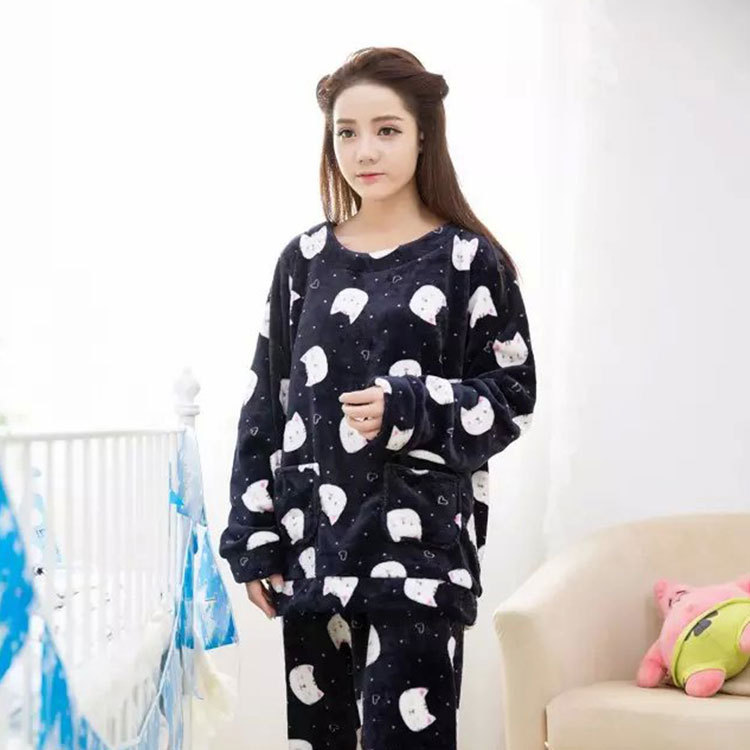 Jun Xin Korean-style Sweet Cute Pajamas Women's Autumn And Winter Dark Blue Cat Long-sleeve Suit Flannel Tracksuit Spring And Au
