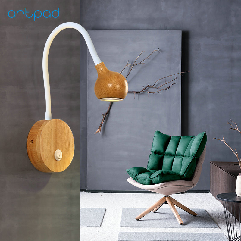 Artpad Nordic Wood <font><b>Wall</b></font> Lamp White/Black Flexible 360 Degree <font><b>LED</b></font> <font><b>Wall</b></font> <font><b>Spot</b></font> Lights For Bedroom Bathroom Hallway Indoor Lighting image