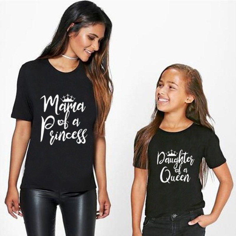 Mom and Daughter Matching T-Shirt | Princess and Queen | 2 Colors - Black and White