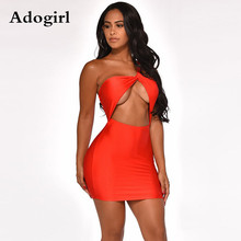 Adogirl Sexy One Shoulder Cut Out Above Knee Bodycon Midi Mini Dress Female Sleeveless Sexy Night Party Club Dresses Vestido цена 2017