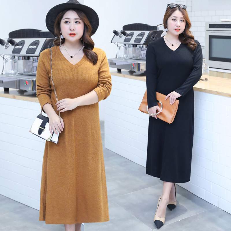 Sold Out Lower Rack! Large GIRL'S Size Plus-sized WOMEN'S Dress Korean-style Explicit Thin Long Sweater Full Body Dress 0873