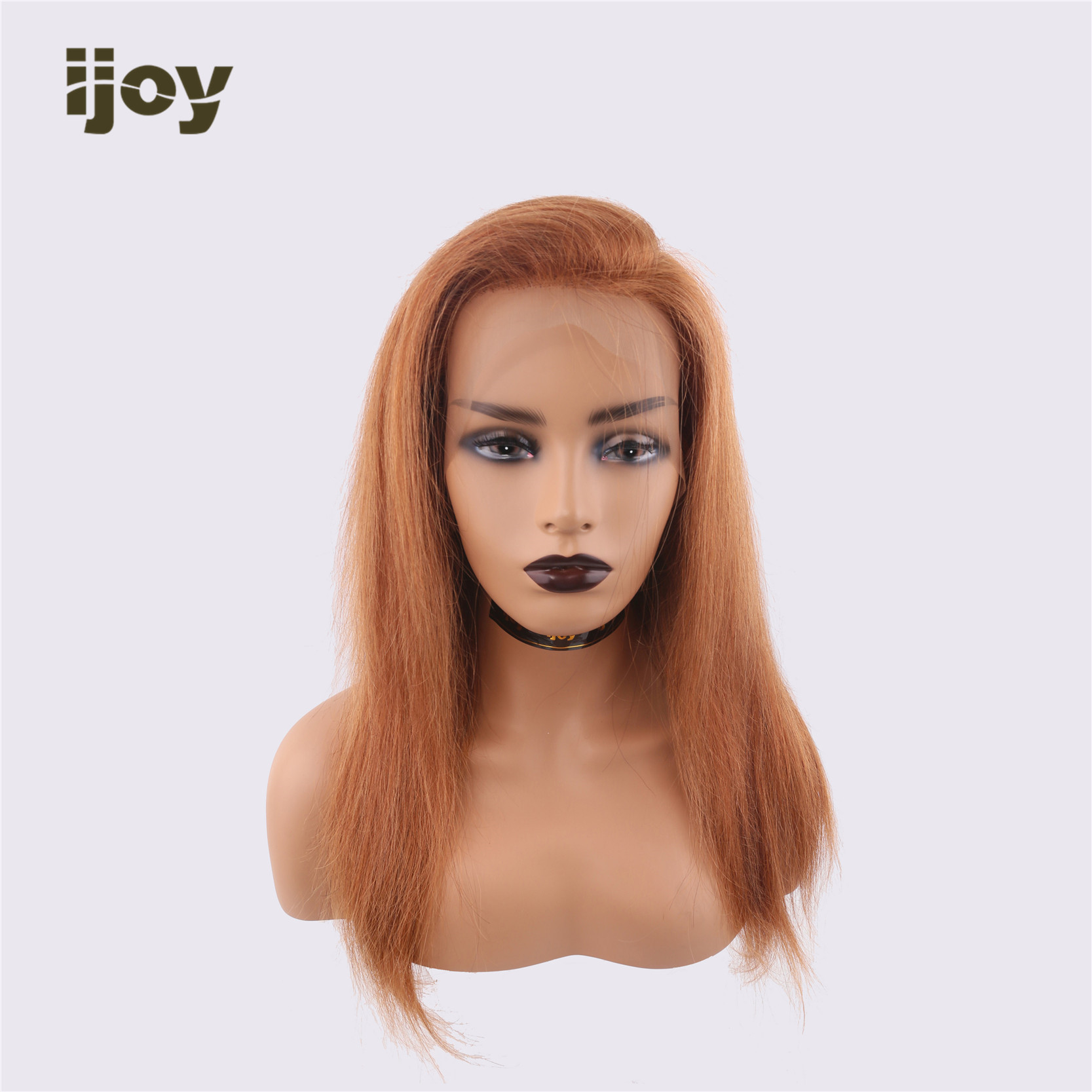 【IJOY】Human Hair Wigs Straight 13×4 Lace Front 18''-28'' H #30 Light Brown Non-Remy Brazilian Hair