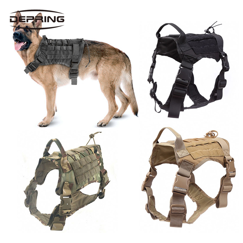 Tactical K9 Nylon Service Dog Harness Training No-Pull Adjustable Vest W// Handle
