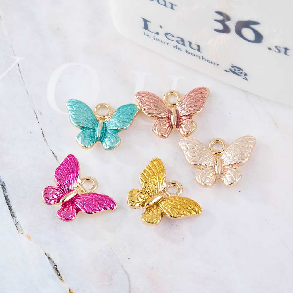 10pcs Sweet Colorful Butterfly Charms Gold Color Cute Enamel Animal Charms For Girls DIY Earrings Jewelry Accessories