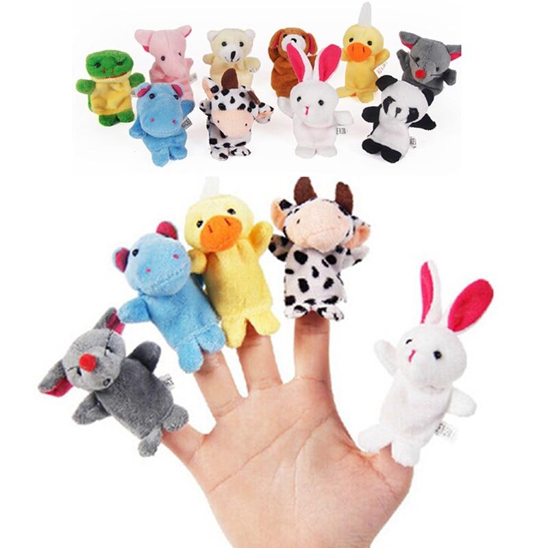 10Pcs/lot Cute Cartoon Biological Animal Finger Puppet Plush Toys Child Baby Favor Dolls Boys Girls Finger Puppets For Kids Gift