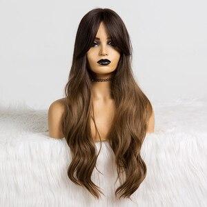 Image 5 - Pelucas sintéticas de pelo largo ondulado para mujer, pelo ombré marrón a rubio con flequillo para mujer, pelucas Afo Cosplay, fibra resistente al calor de parte media