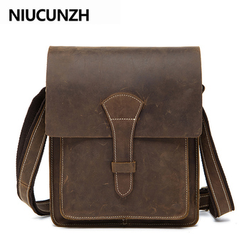 NIUCUNZH Men's Crossbody Shoulder Bag Crazy Horse Genuine Leather Messenger Bag for Men Vintage Male with Zipper Flap Handbag fasiqi local tyrants gold a bag of crocodile leather handbag with a handbag with a long zipper bag with gold gold