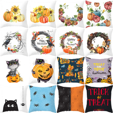 Halloween Cushion Cover Cartoon Pumpkin Printed Pillow Cover 45*45 Polyester Sofa Pillow Cover Square Kussenhoes Home Decor