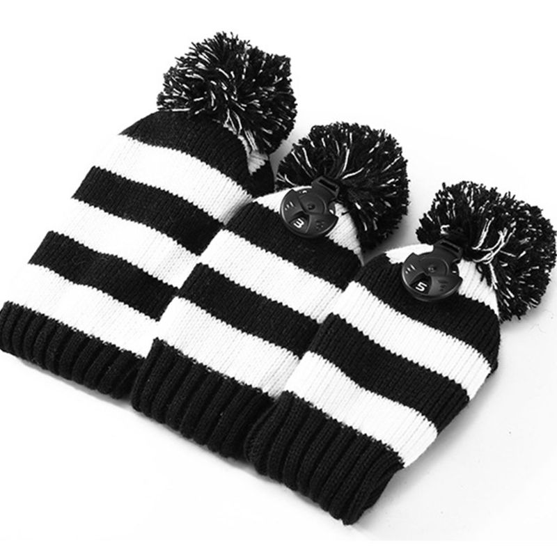 3 Pcs Knitted Golf Headcover Driver Cover Vintage Simple Design Three-piece Knit Fit For Driver Fairway Hybrid Sports