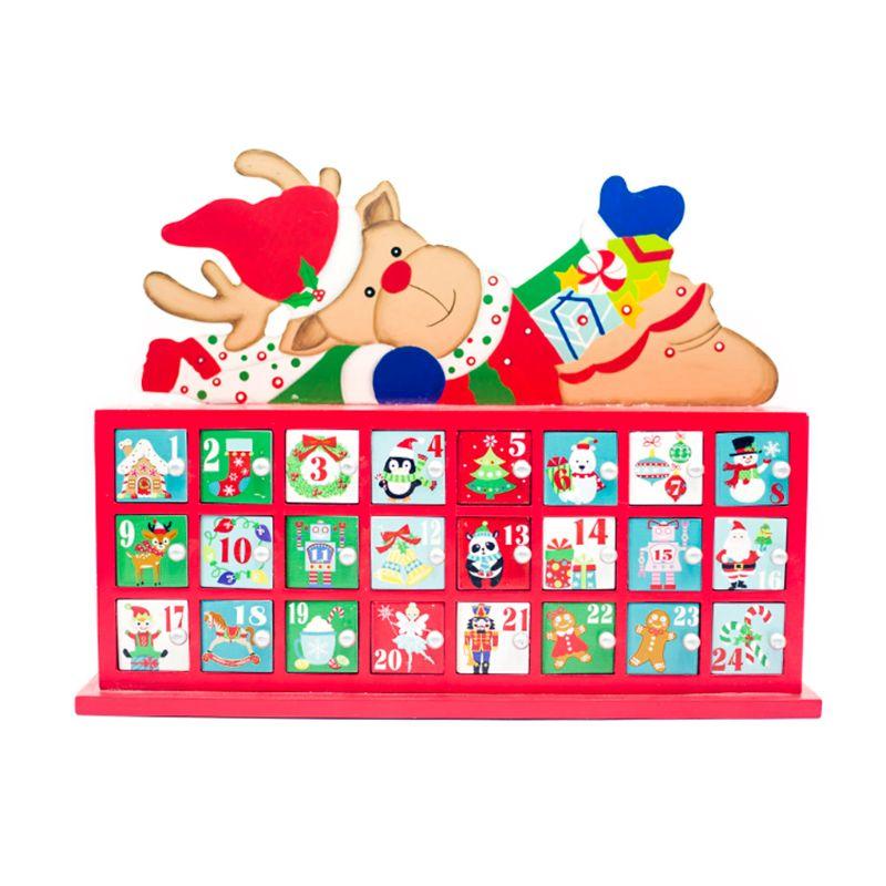 Creative Christmas Wooden Painted Elk Countdown Advent Calendar Christmas Ornament
