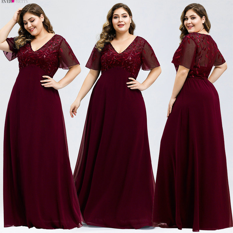 Plus Size Mother Of The Bride Dresses Ever Pretty Sequined A-Line V-Neck Kurti Elegant Dinner Gowns Vestido Da Mae Da Noiva