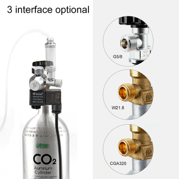 New 12V Output Voltage Aquarium CO2 Regulator G5/8 Interface CO2 Pressure Regulator with Solenoid Bubble Counter & Check Valve