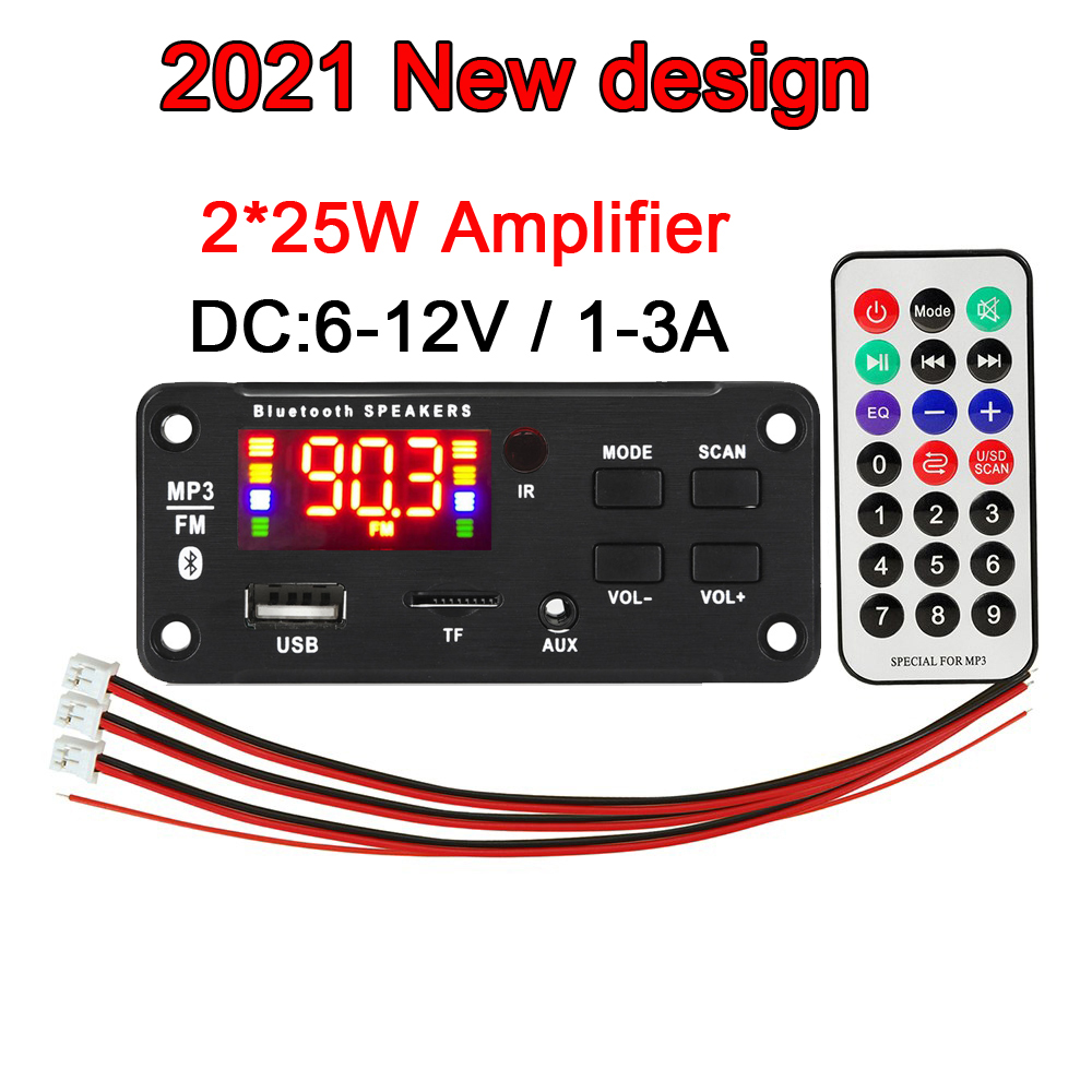 50W Amplifier MP3 Player Bluetooth Module Decoder Board 12V FM Car Radio Module Support TF USB AUX 3.5 WMA Player Decoding Kit