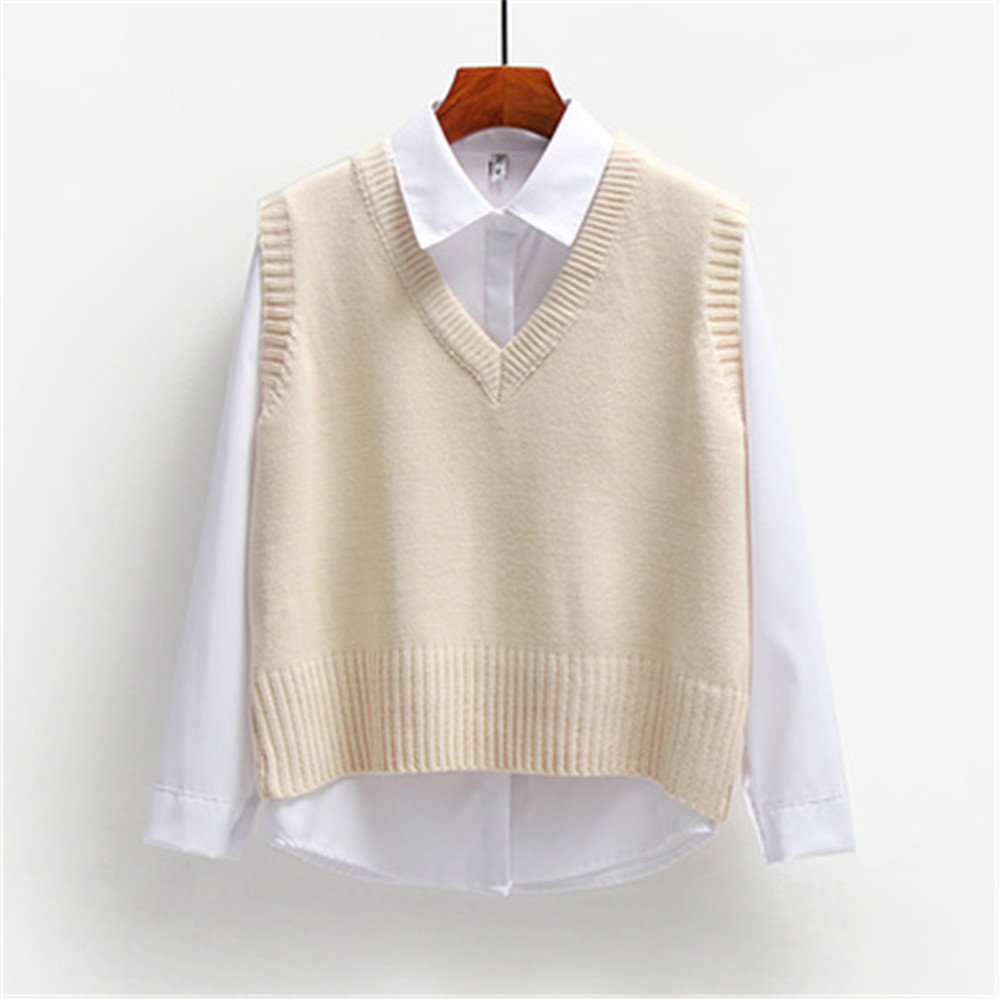 Women Sweater Vest Spring 2021 Autumn Women Short Loose Knitted Sweater Sleeveless Ladies V-Neck Pullover Tops Female Outerwear 6