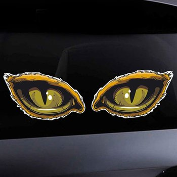 3D Stereo Reflective Car Sticker Car Car Side Fender Eye Sticker Sticker Creative Rearview Mirror Applique Cat Eye Unicorn Fish image