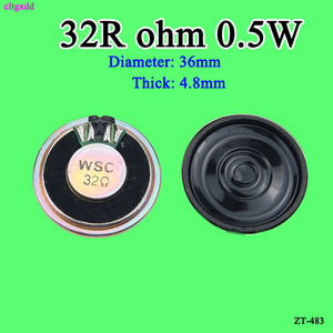 Cltgxdd 5 pçs/lote Novo Ultra-fino orador 32 ohms 0.5 watt 0.5W speaker Diâmetro 32R 36MM 4CM de espessura 4.8 MILÍMETROS 5MM